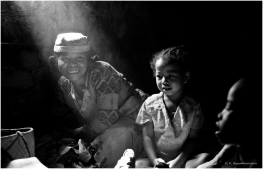 A Malagasy family from southeast Madagascar in their home. (Black and White)