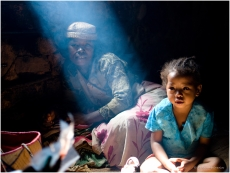 A Malagasy family from southeast Madagascar in their home (color)